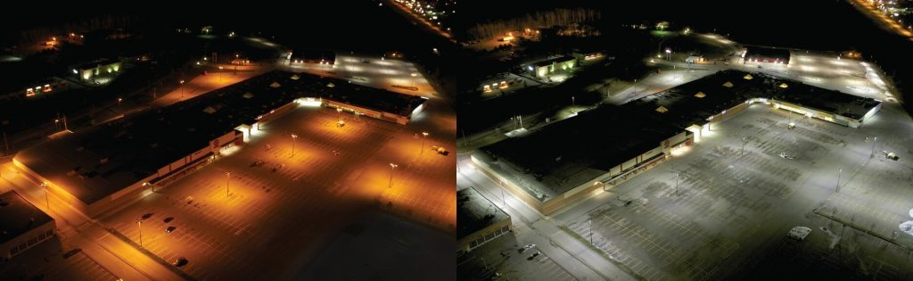 parking lot lihgt before after